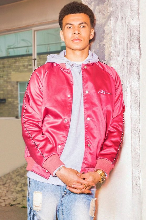 Dele Satin Bomber Jacket With Chest Embroidery