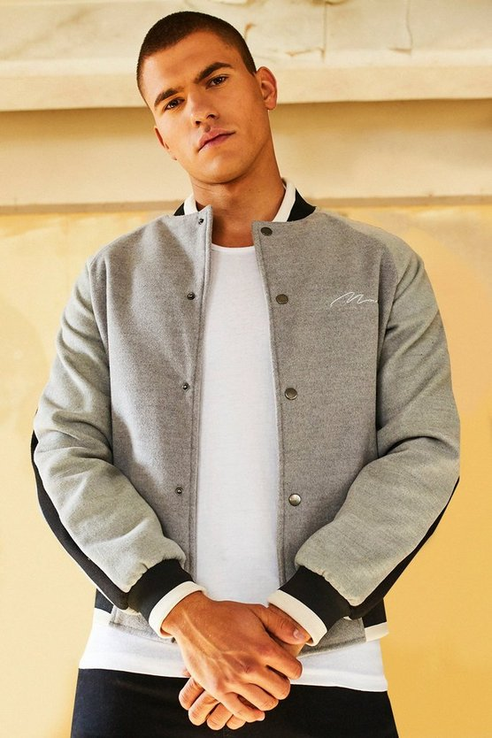 Dele Wool Look Smart Bomber Jacket With Embroidery