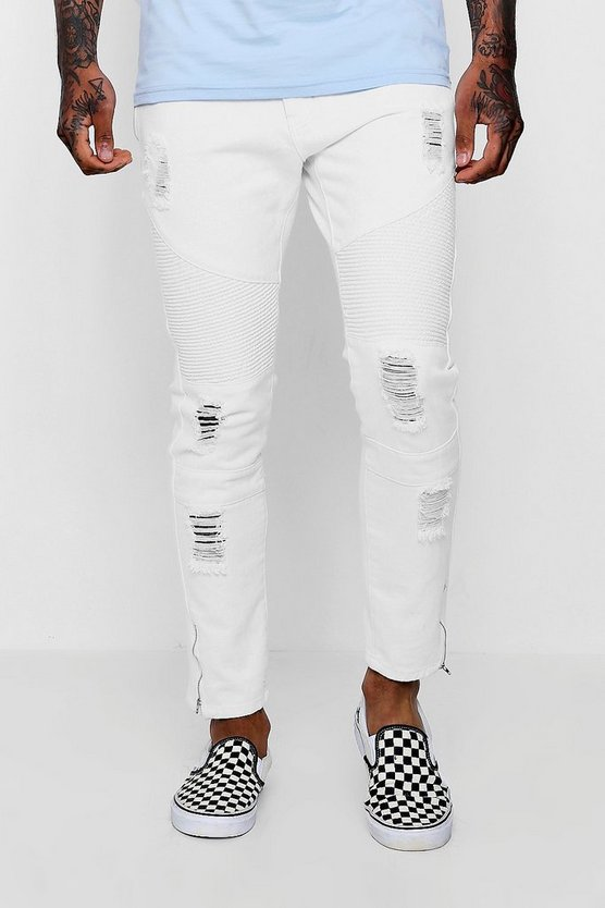 Dele Skinny Fit Biker Jeans With Zipped Cuff