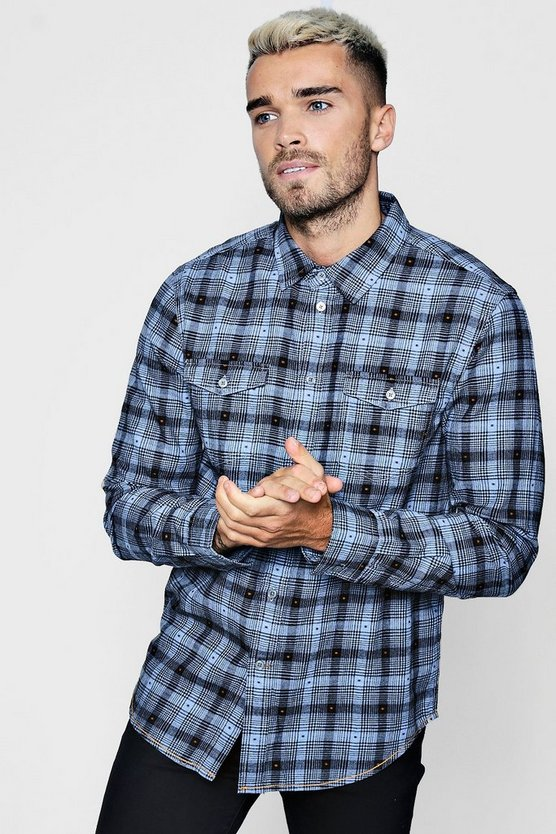 Double Pocket Dobby Check Long Sleeve Shirt