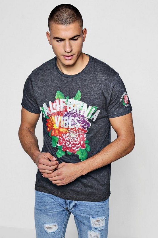 Floral Placement Print T-Shirt With Cali Embroidery