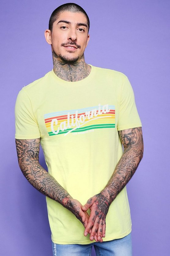 T-shirt California a stampa arcobaleno