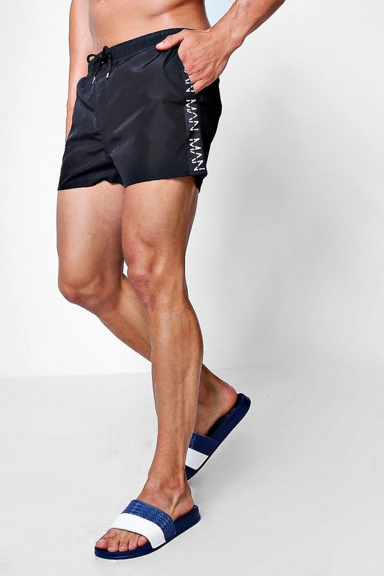 Short Length Swim Short With Printed MAN Panel