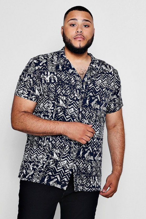 Big And Tall Loose Fit Aztec Revere Collar Shirt