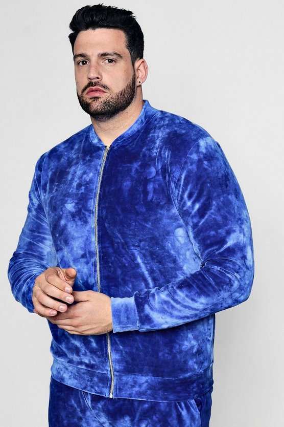 Big And Tall Tie Dye Velour Bomber Co-Ord