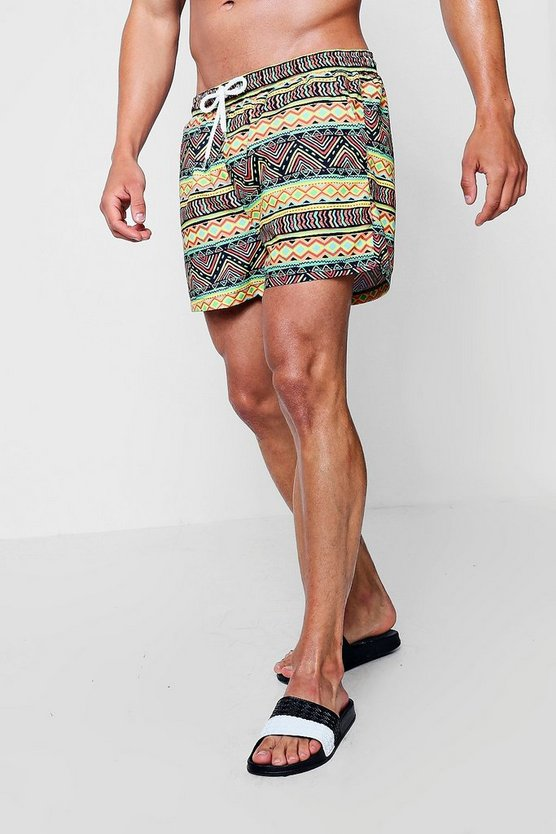 Aztec Print Mid Length Swim Short