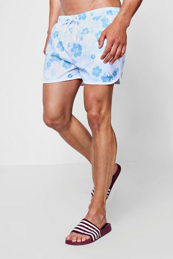 Blue Floral Print Runner Swim Short