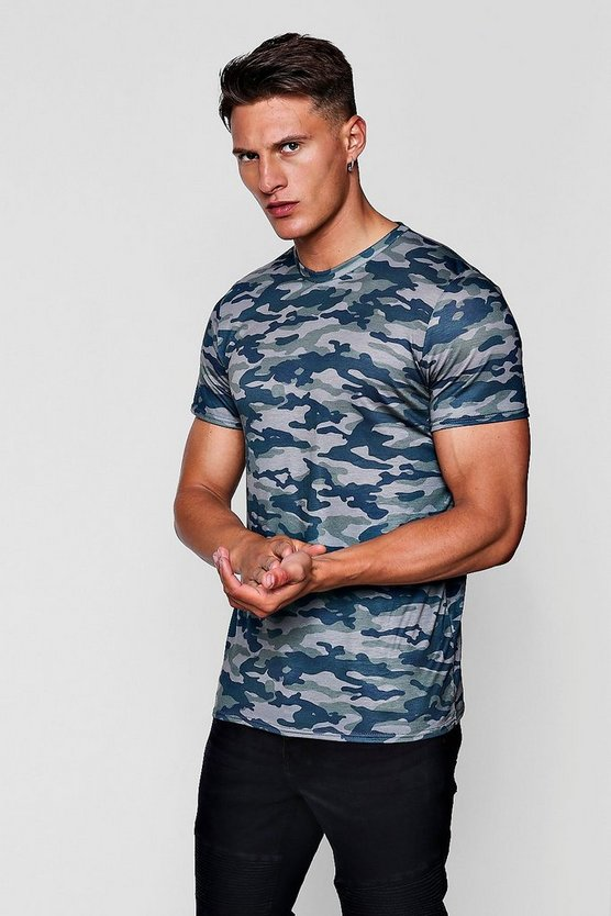 Camo Print Muscle Fit T-Shirt