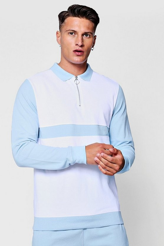 Long Sleeve Colour Block Pique Ring Pull Polo Co-Ord
