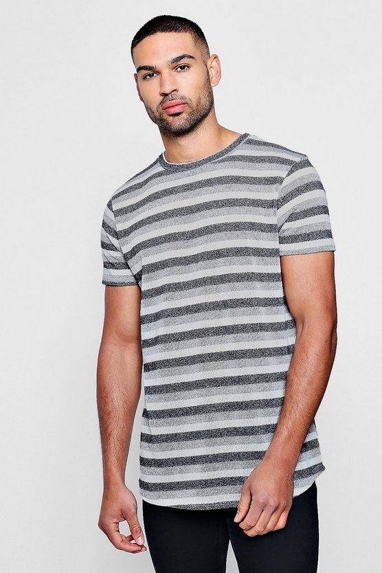 Knitted Double Stripe Longline Curved Hem T-Shirt