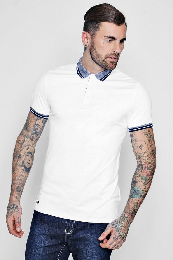 Contrast Collar Jersey Polo
