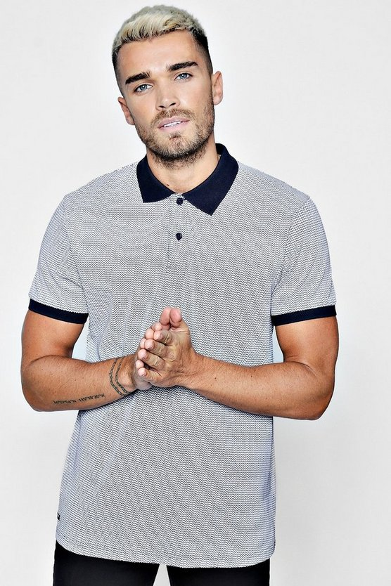 Zig Zag Polo With Contrast Collar