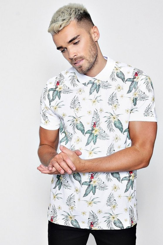 Parrot and Leaf Printed Polo