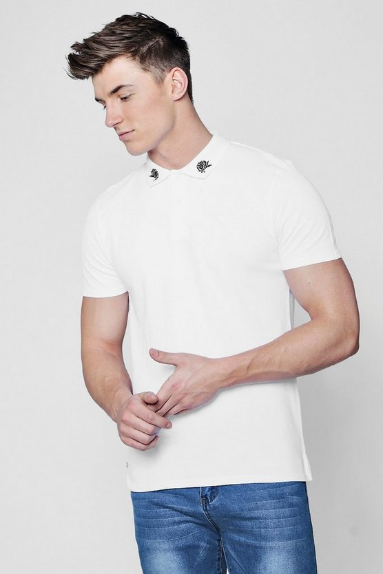 Pique Polo With Rose Embroidered Collar