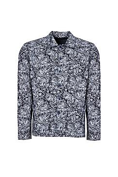 Long Sleeve Paisley Print Denim Shirt