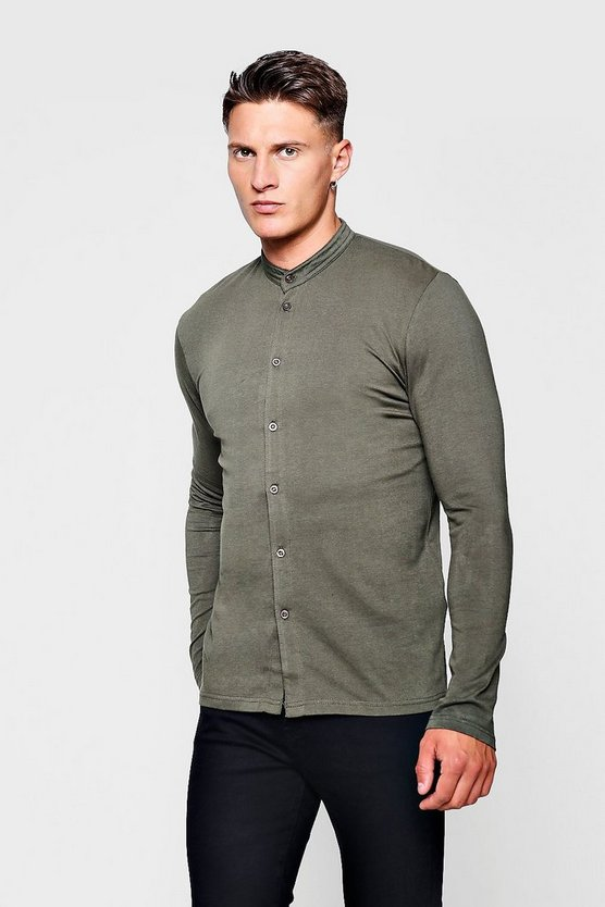 Muscle Fit Long Sleeve Grandad Jersey Shirt