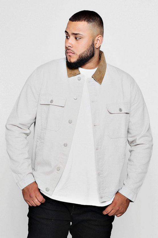Big And Tall Stone Cord Collar Denim Jacket