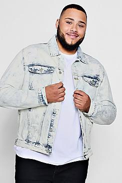 Big and Tall giacca in denim con lavaggio acido