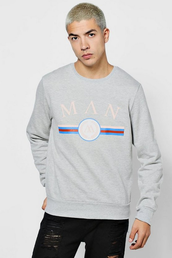 MAN Sweatshirt mit Retro-Print