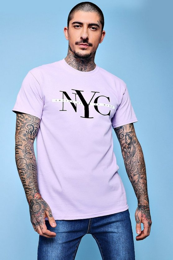 T-shirt con stampa floccata NYC
