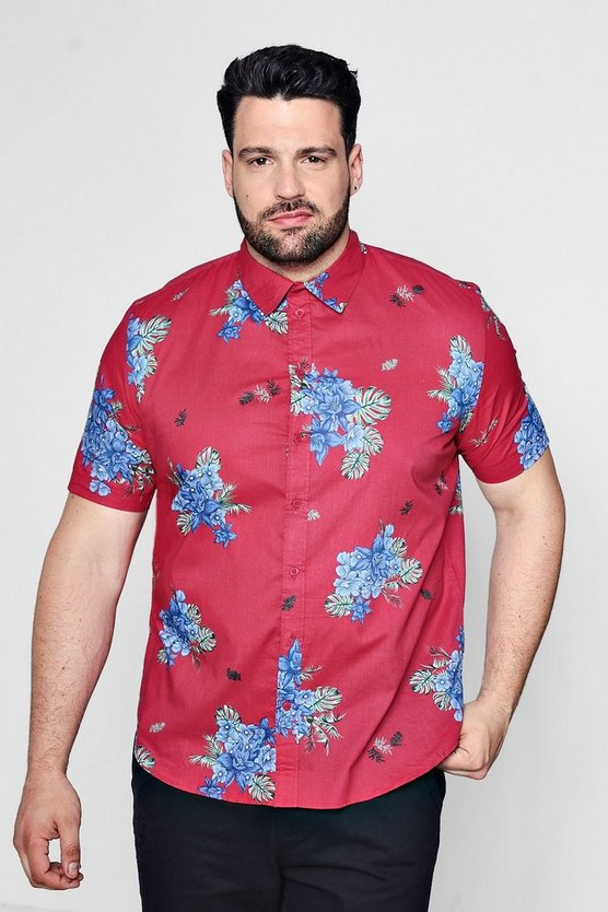 Big And Tall Pink Floral Placement Shirt