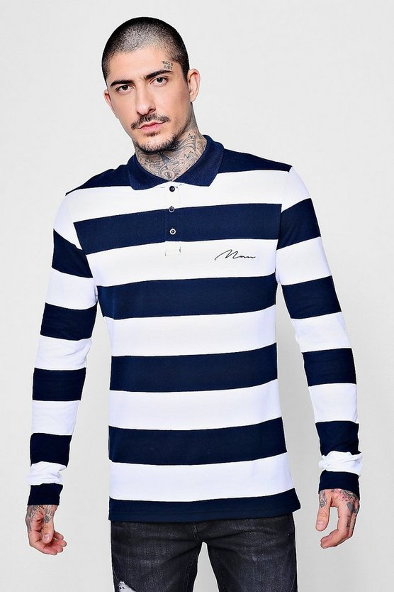 MAN Embroidered Long Sleeve Engineered Stripe Polo