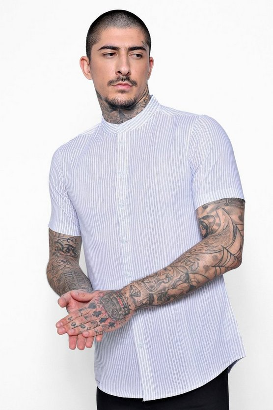Striped Muscle Fit Shirt In Short Sleeve
