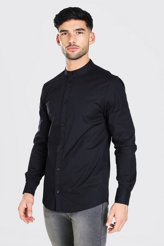 Muscle Fit Grandad Collar Long Sleeve Shirt by Boohoo