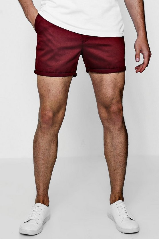 Short Length Slim Fit Chino Short In Burgundy