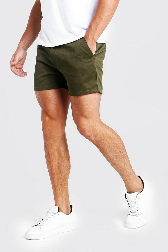 Short Length Slim Fit Chino Short In Khaki