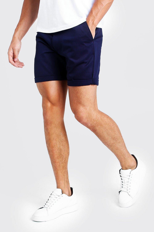 Купить Shorts, Mid Length Slim Fit Chino Short In Navy, boohoo