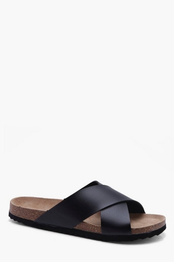 Cross Strap Faux Leather Footbed Slider