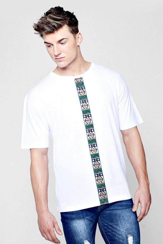 Boxy Fit T-Shirt With Aztec Tape