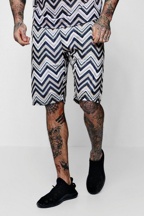 Aztec Mid Length Mesh Shorts Co-ord