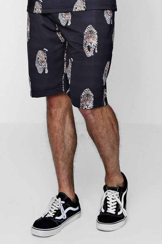 Lange Shorts mit Leoparden-Sublimationsprint