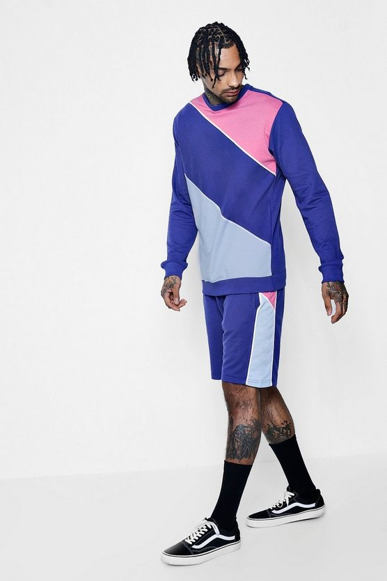 Colour Block Sweater And Short Tracksuit