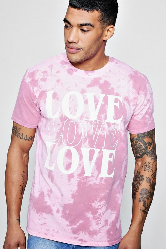 Love Slogan Tie Dye T-Shirt