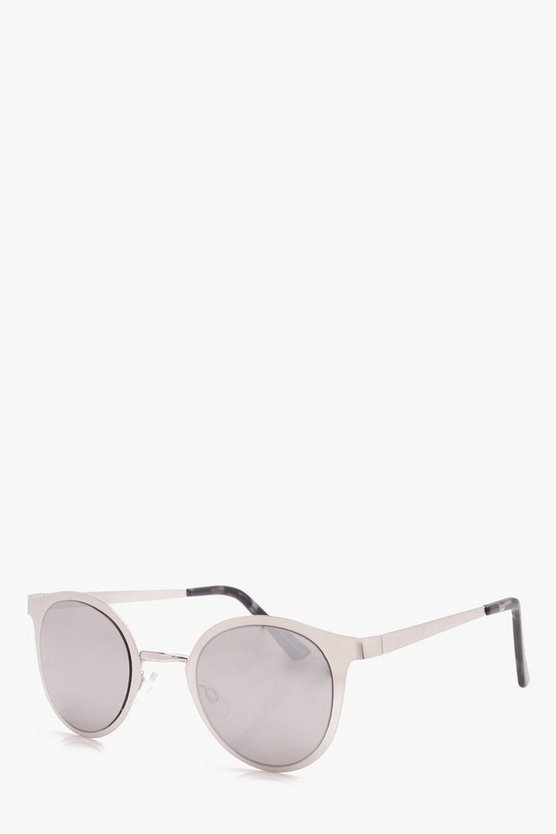 Brushed Metal Clubmaster Sunglasses