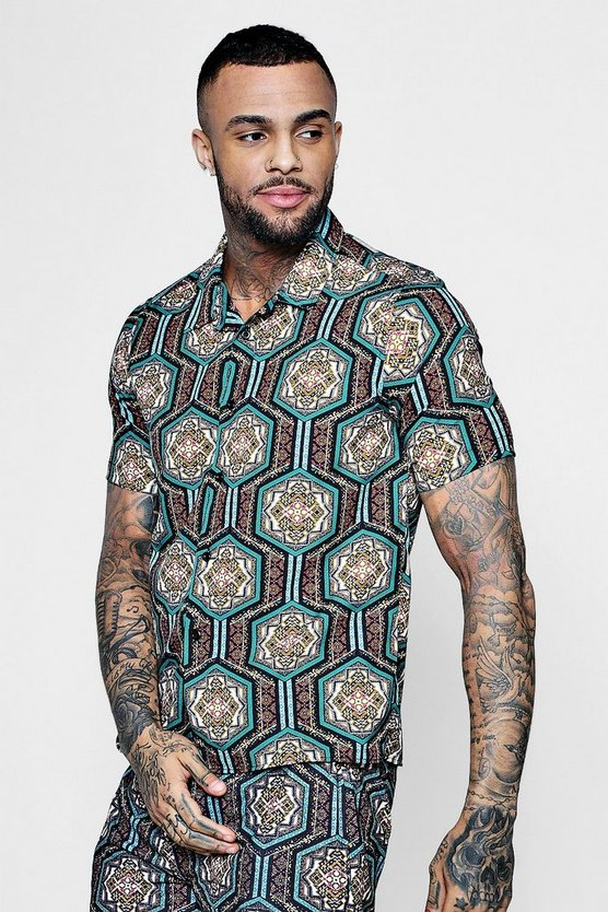 Short Sleeve Moroccan Print Revere Shirt Co-ord