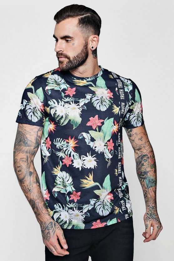 Slogan Floral Sublimation T-Shirt With Curve Hem