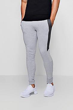 Pantaloni da jogging taglio super skinny in tricot con pannelli