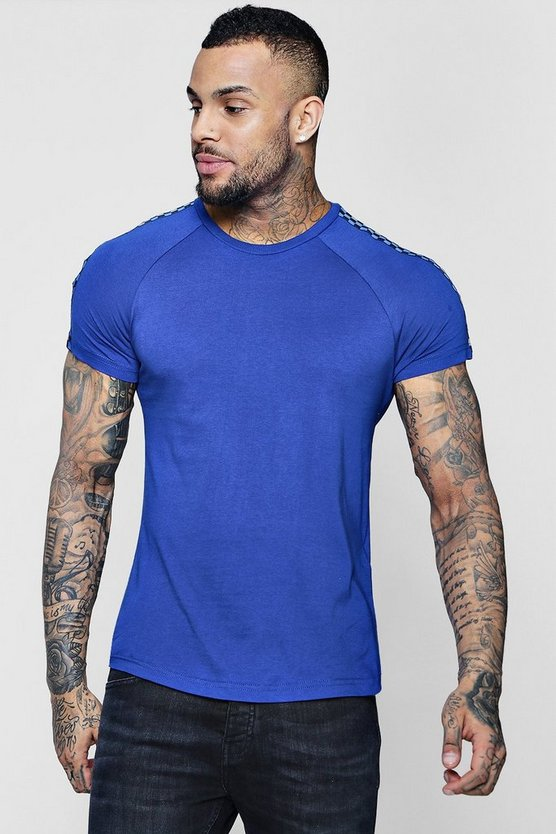Muscle Fit Curved Hem Check Tape T-Shirt