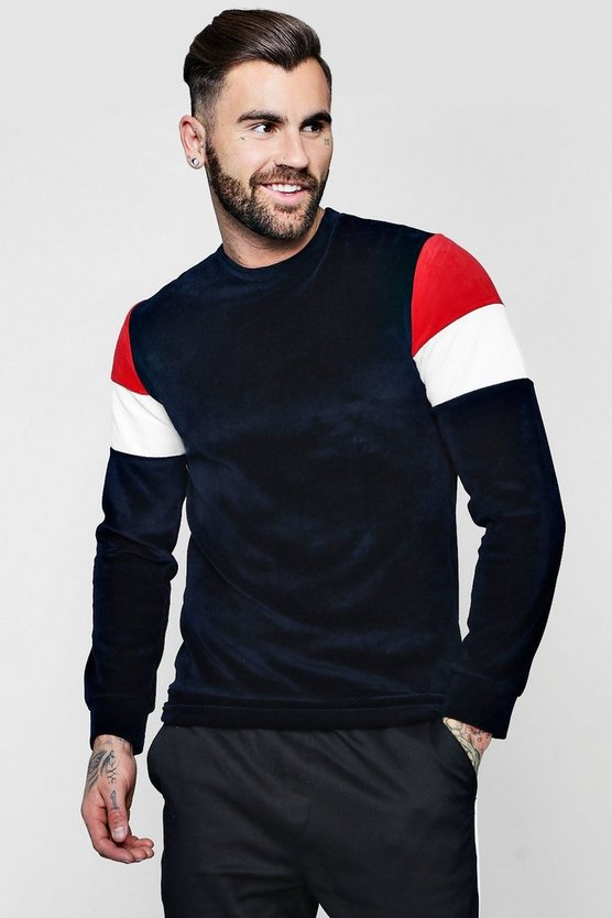 Velour Colour Block Sweater