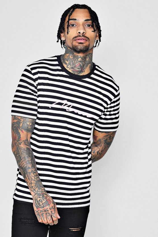 MAN Signature Embroidered Striped T-Shirt