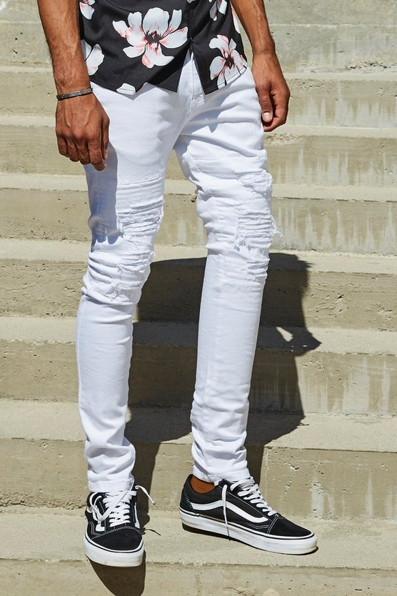 French Montana Super Skinny White Distressed Biker Jeans