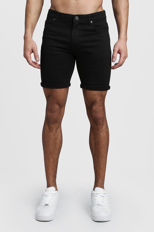 Купить Shorts, Эластичные джинсы-скинни Шорты из денима Fit Black, boohoo