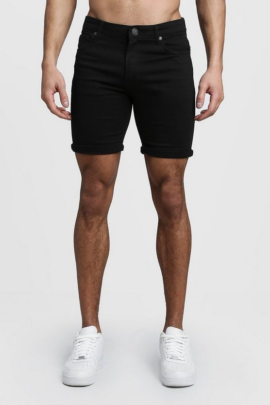 Stretch Skinny Fit Black Denim Shorts by Boohoo
