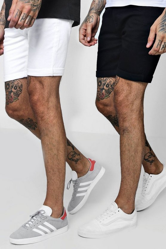 2 Pack Denim Shorts In Skinny Fit
