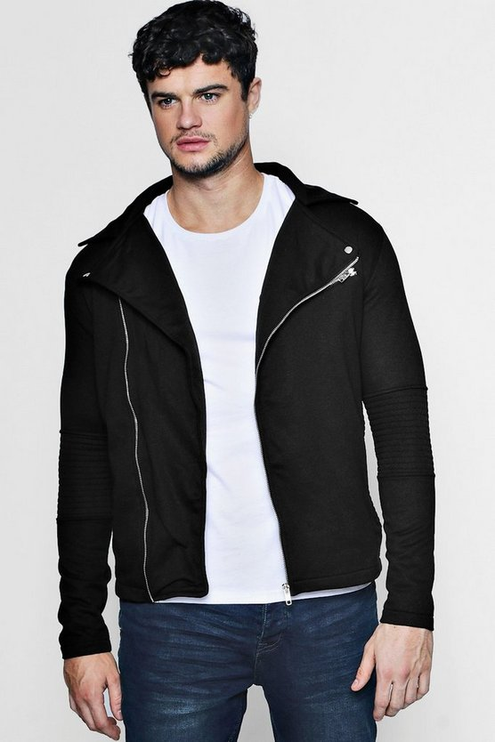 Ribbed Jersey Biker Jacket