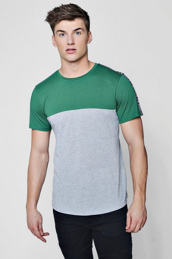 Colour Block Curved Hem T-Shirt With Taping